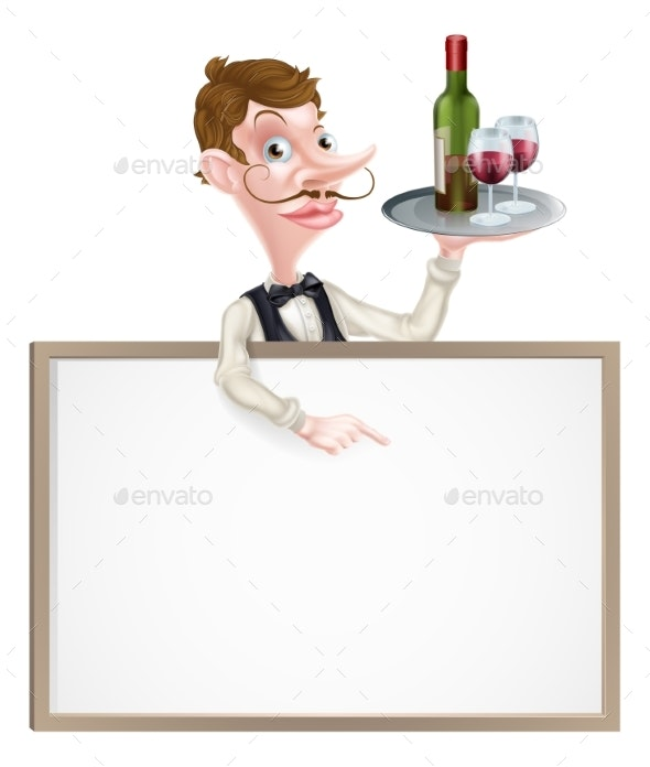 Wine Waiter Sign - People Characters