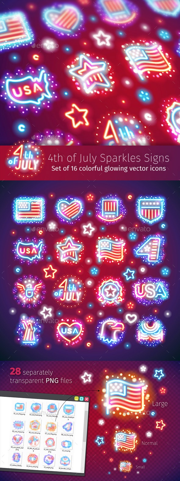 Fourth of July Signs with Sparkles - Decorative Symbols Decorative