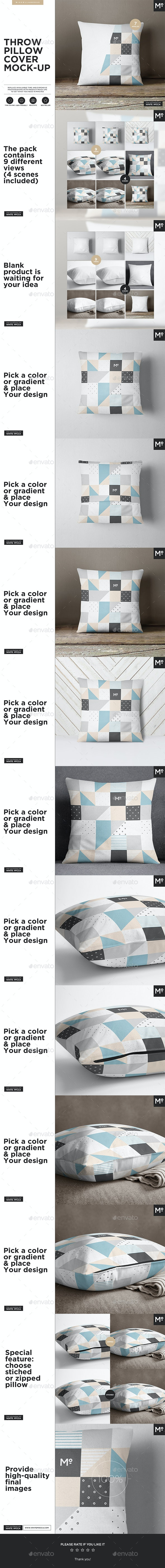 The Pillow Cover Mock-up - Product Mock-Ups Graphics