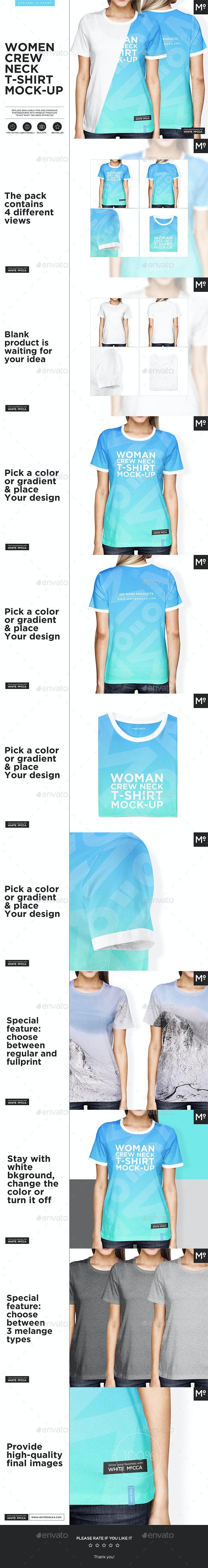 Woman Crew Neck T-shirt Mock-up - T-shirts Apparel