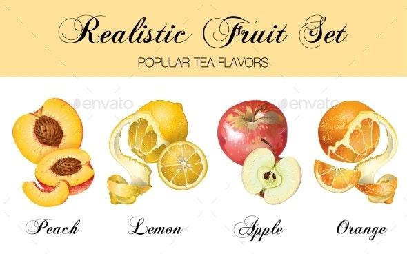 Realistic Fruits Set - Food Objects