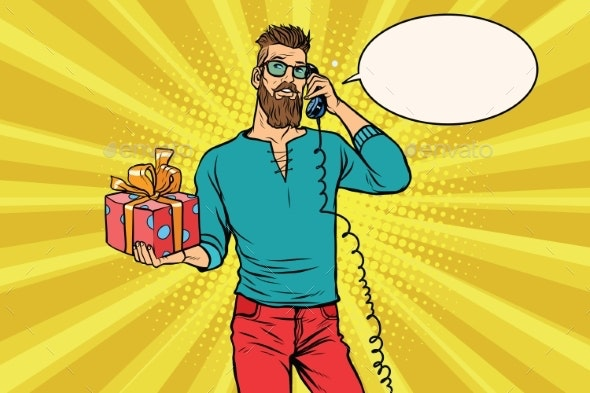 Hipster with a Gift of Talking on the Phone - People Characters