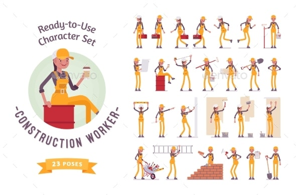 Ready-to-Use Young Female Worker Character Set - People Characters