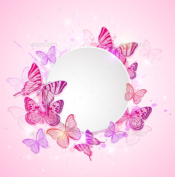 Pink Background with Butterfly - Animals Characters