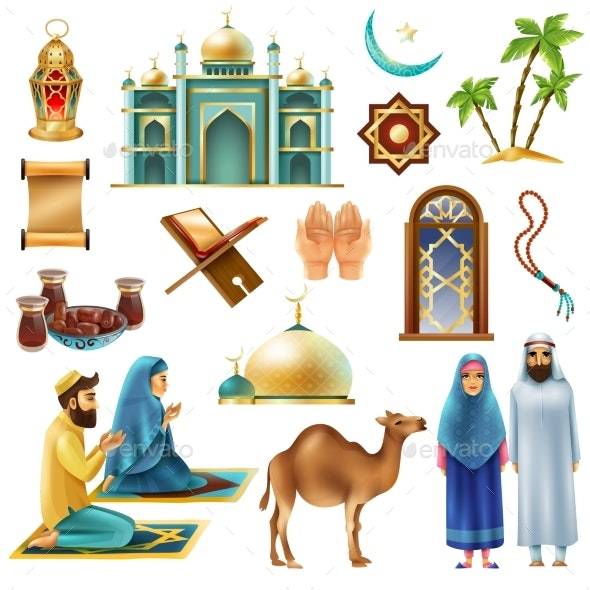 Ramadan Kareem Mubarak Symbols Icons Set - People Characters