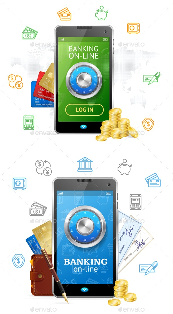Banking Online Concept Mobile Phone App - Concepts Business