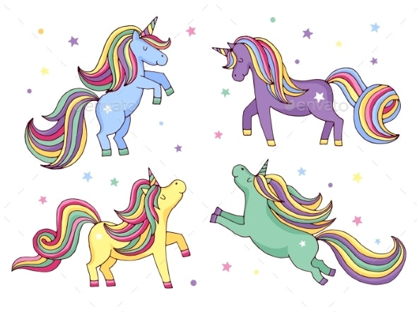 Funny Cartoon Unicorn. Vector Illustrations Set - Characters Vectors