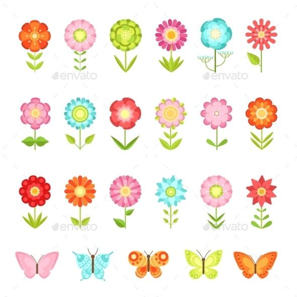 Funny Butterfly on Flowers in Garden - Organic Objects Objects