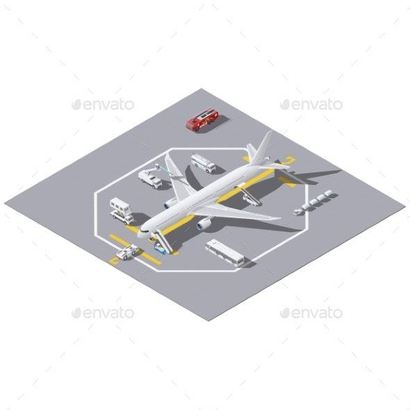 Maintenance of a Passenger Aircraft Isometric Icon - Miscellaneous Vectors