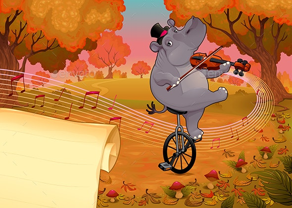 Violinist Hippo and Paper to Give the Best Wishes  - Miscellaneous Seasons/Holidays