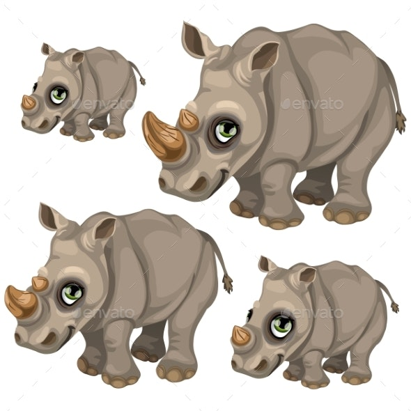 Rhino with Green Eyes - Animals Characters