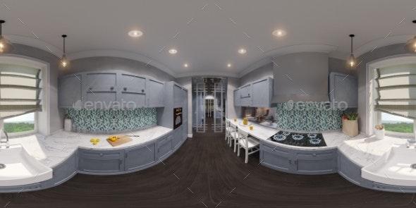 3d Illustration of the Kitchen Interior Design - Architecture 3D Renders
