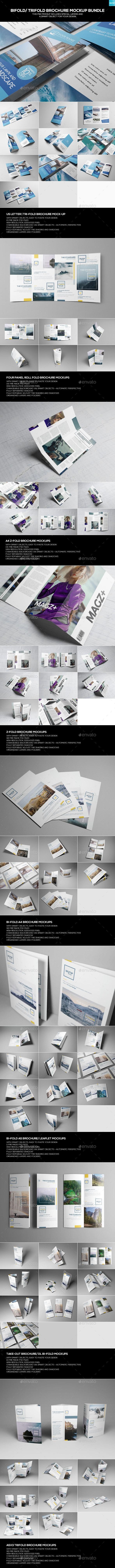 Bifold/ Trifold Brochure Mockup Bundle - Miscellaneous Print