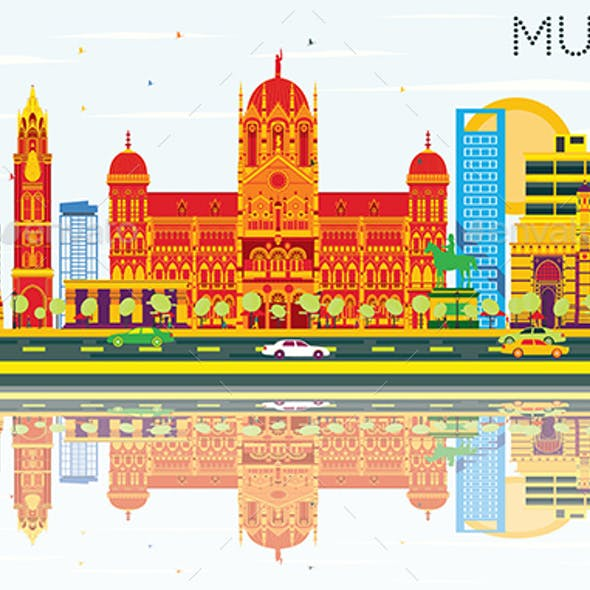 Mumbai Skyline with Color Buildings, Blue Sky and Reflections