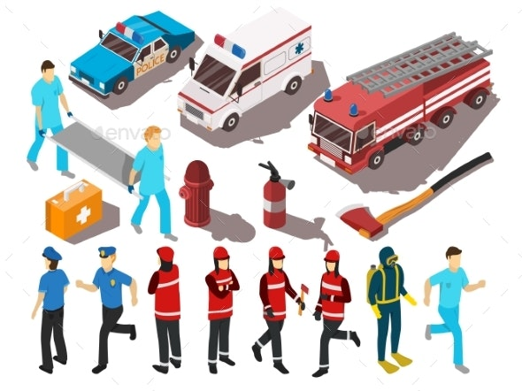 Rescue Service Isometric Set - People Characters