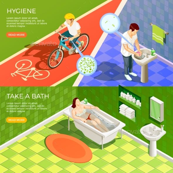 Bathroom Horizontal Banners Set