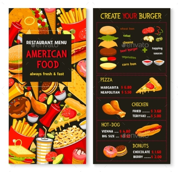 Vector Menu for Fast Food Meals and Desserts - Food Objects