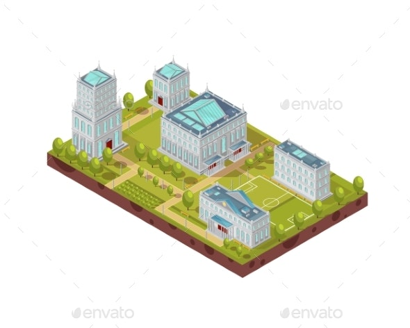 Complex Of University Buildings Isometric Layout - Buildings Objects