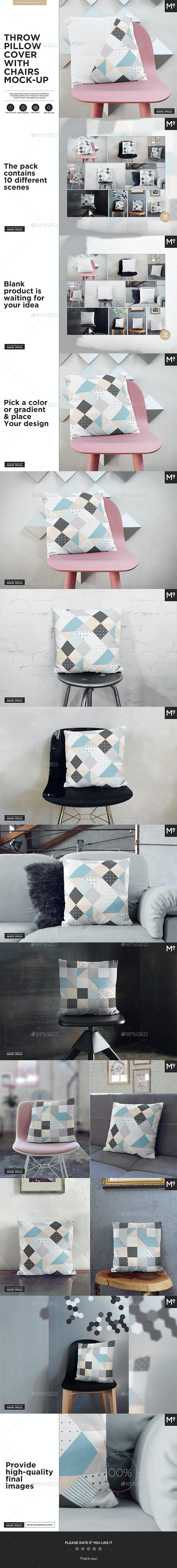 The Throw Pillow With Chairs Mock-up - Miscellaneous Product Mock-Ups