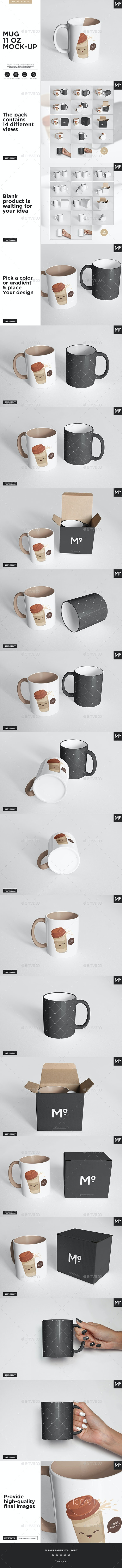 The Mugs 11 oz. and Box Mock-up - Miscellaneous Product Mock-Ups
