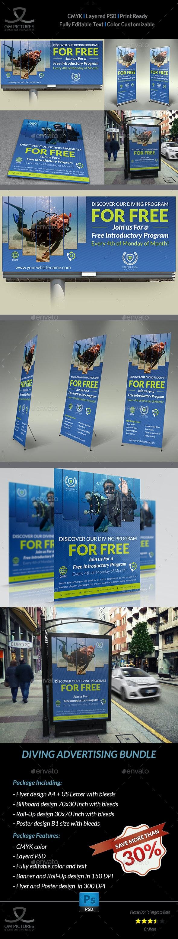 Diving Advertising Bundle - Signage Print Templates