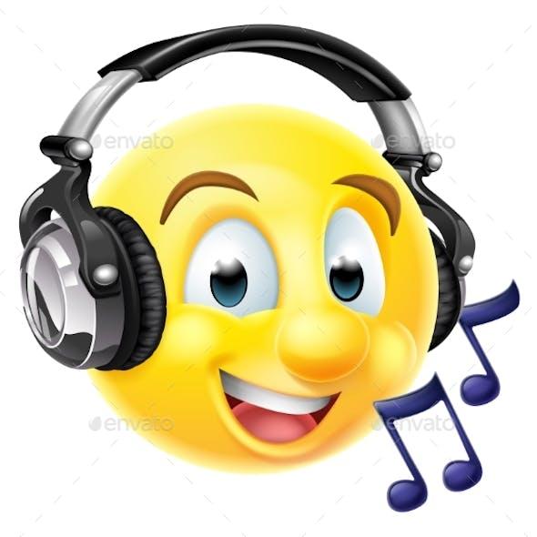 Music Emoji Emoticon Wearing Headphones