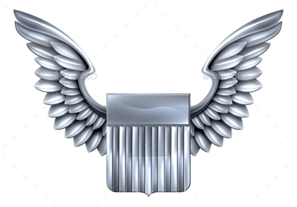 US Silver Shield with Wings - Miscellaneous Vectors