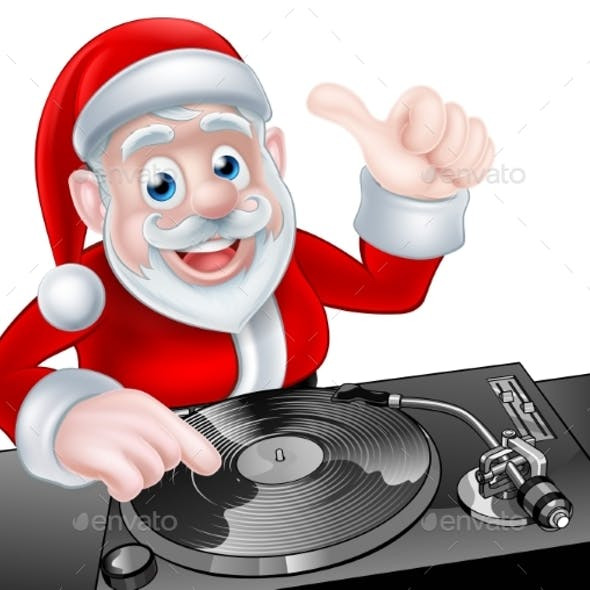 DJ Santa Cartoon