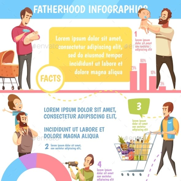 Fatherhood Retro Cartoon Infographic Poster