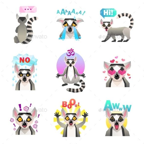 Lemur Emoji Stickers Set - Animals Characters