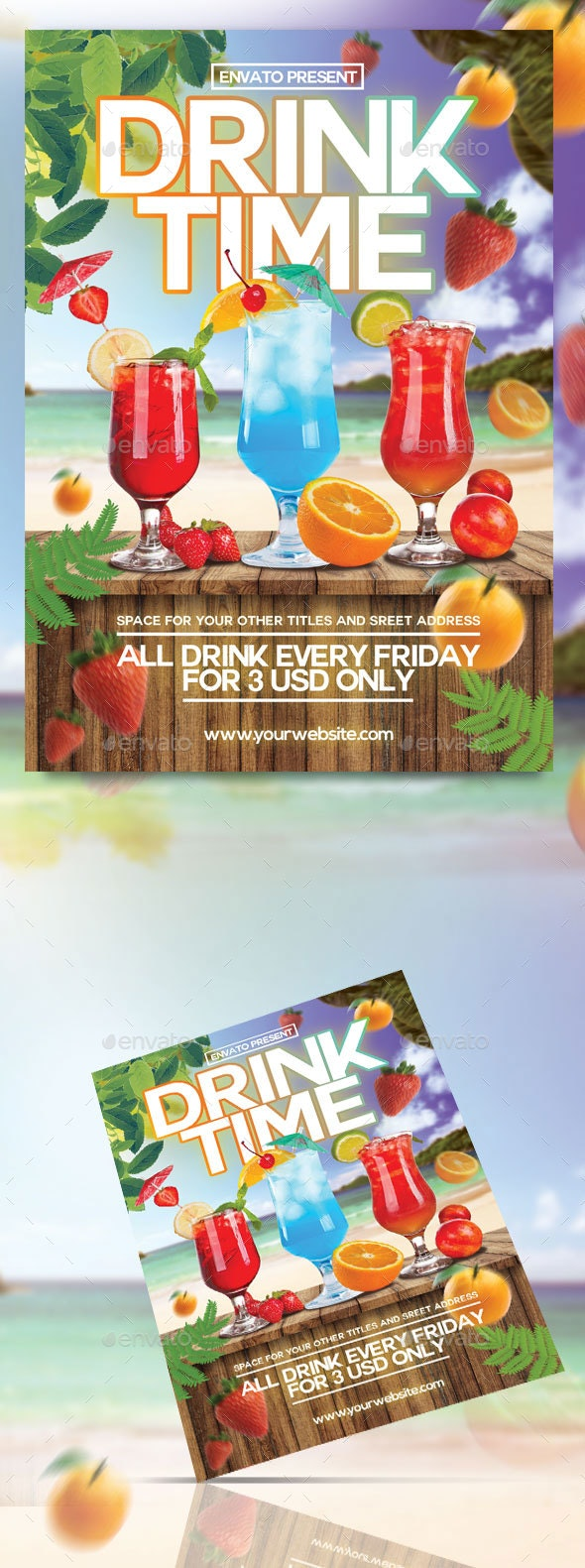 Drink Time Flyer Template - Clubs & Parties Events