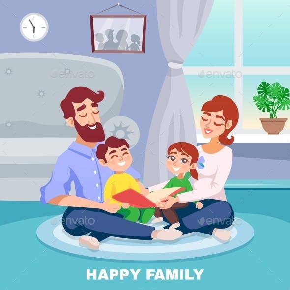 Happy Family Cartoon Poster