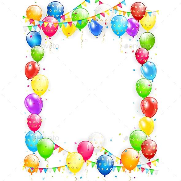 Birthday Balloons and Confetti on White Background - Birthdays Seasons/Holidays