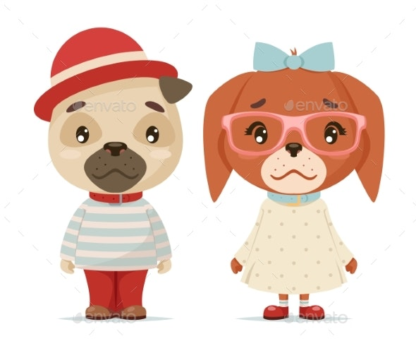 Puppy Dogs Boy and Girl Geek Hipster Mascots - Animals Characters
