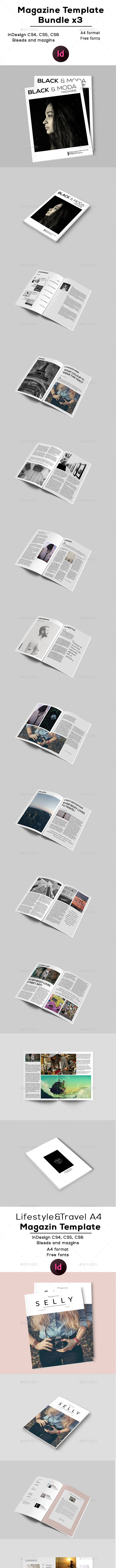 A4 Magazines Templates x3 - Magazines Print Templates