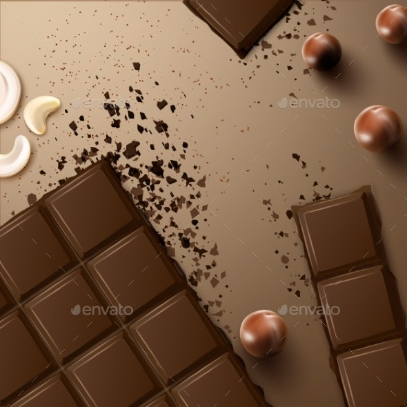 Chocolate Bar with Nuts - Food Objects
