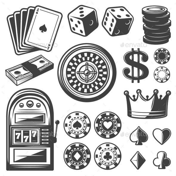 Vintage Casino Elements Set