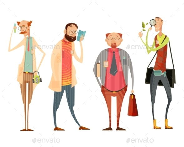 Teachers Retro Cartoon Style Collection - People Characters