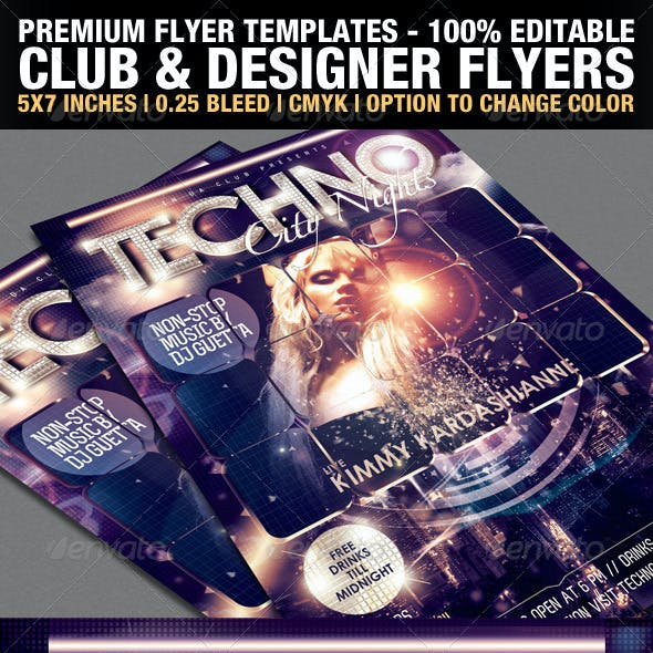 Club & Design Magazine Style Flyer Templates Vol.2