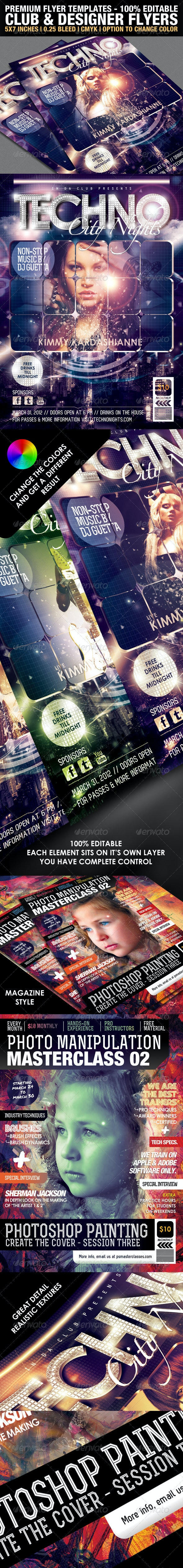 Club & Design Magazine Style Flyer Templates Vol.2 - Clubs & Parties Events