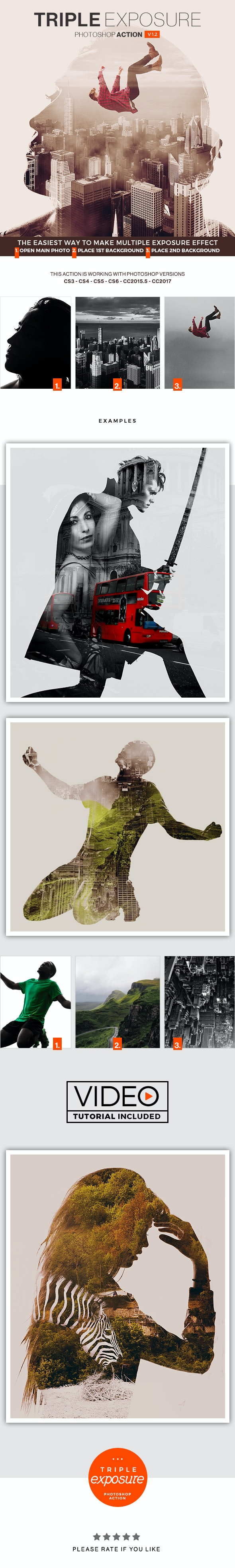 Triple Exposure Photoshop Action - Photo Effects Actions