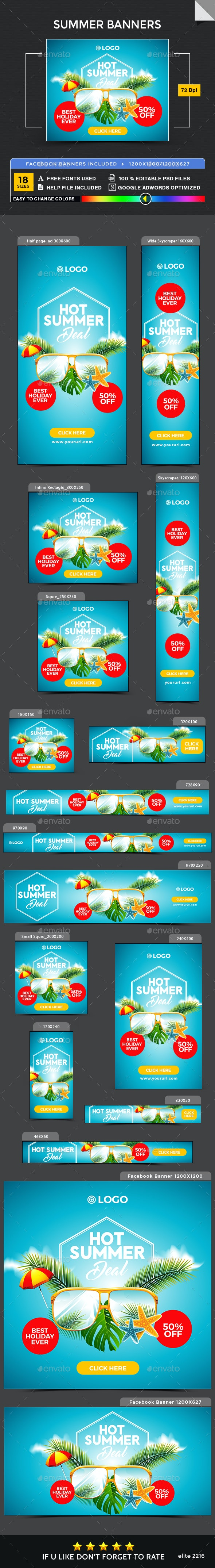Summer Banners - Image Included - Banners & Ads Web Elements