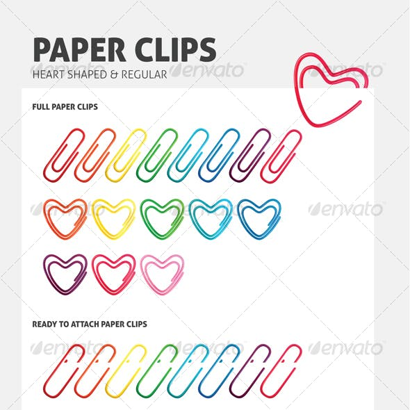 Heart Shaped Paper Clips - Two in One Pack