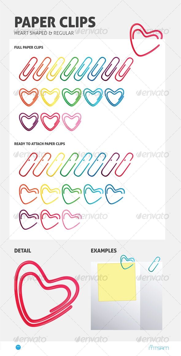 Heart Shaped Paper Clips - Two in One Pack - Man-made Objects Objects