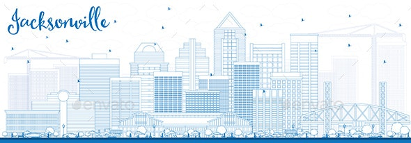 Outline Jacksonville Skyline with Blue Buildings - Buildings Objects
