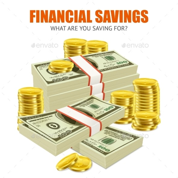 Dollars Coins  Savings Realistic Composition - Business Conceptual