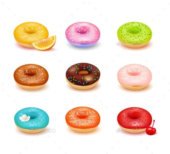 Donuts Assortment Set - Food Objects