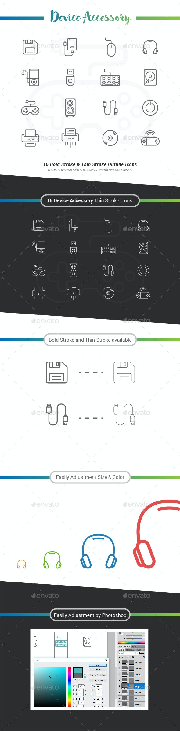 Device Accessory Outline Stroke Icons - Technology Icons