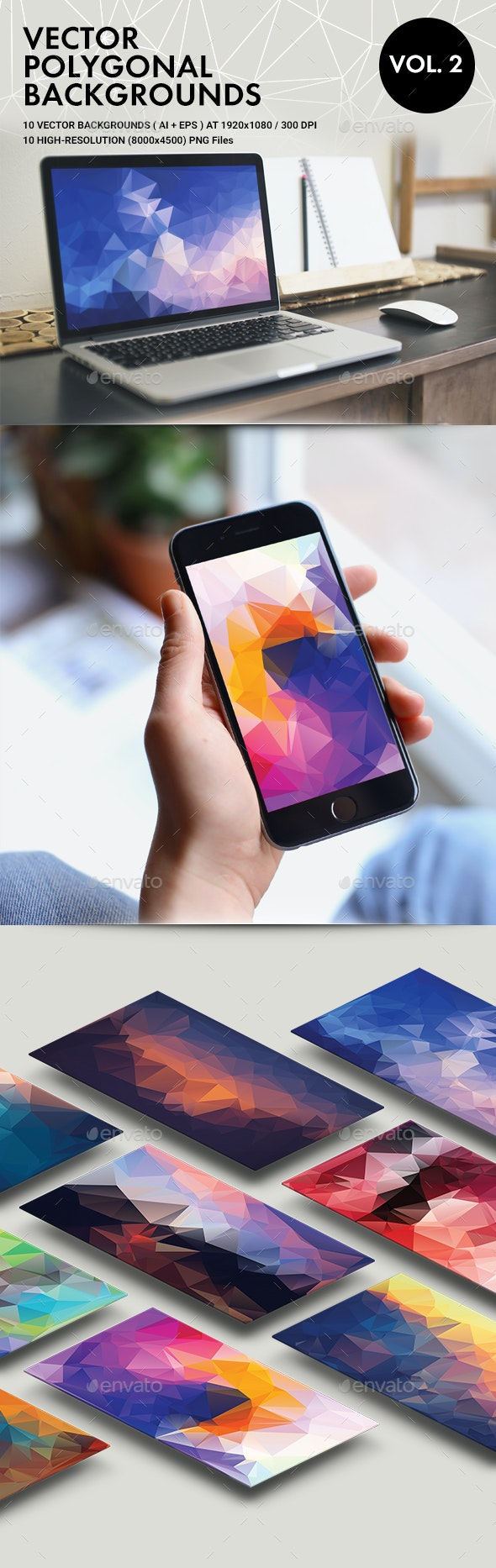 Vector Polygonal Backgrounds Vol. 2 - Abstract Backgrounds