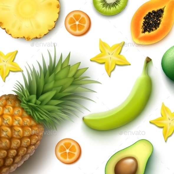 Tropical Fruits Background - Food Objects